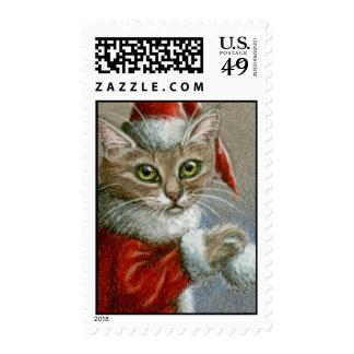 Gato de Tabby en sello del gorra de Santa