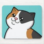 Gato de Tabby gordo feliz del calicó Mousepad Alfombrilla De Ratones