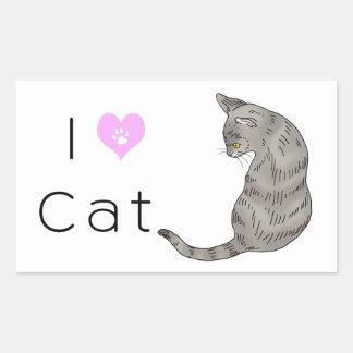 gato de tabby gris (ojos del amarillo) pegatina rectangular
