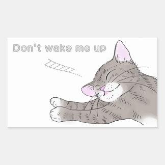 gato de tabby gris pegatina rectangular