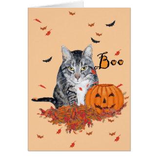 Gato de Tabby Halloween Tarjeta