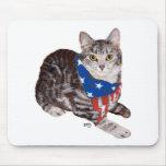 Gato de Tabby patriótico de Shorthair del american Alfombrillas De Ratón