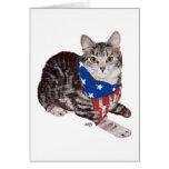 Gato de Tabby patriótico de Shorthair del american Tarjeton