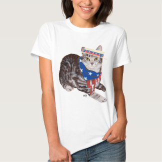 Gato de Tabby patriótico de Shorthair del Remera