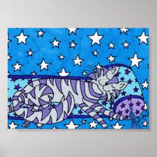 Gato de Tabby púrpura que soña mini arte popular Póster
