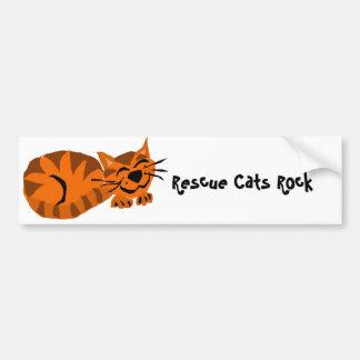 Gato de tigre anaranjado divertido pegatina para auto