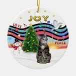 Gato de tigre del Tabby de la música #1- Brown del Ornamentos Para Reyes Magos