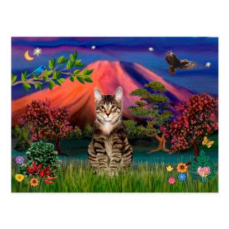 Gato de tigre del Tabby - Mt Fuji en la noche Tarjeta Postal