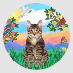 Gato de tigre del Tabby - vida brillante Pegatina Redonda