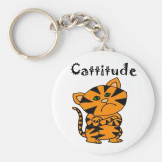 Gato de tigre divertido con Atitude Llavero Redondo Tipo Pin