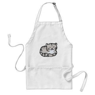 gato de tigre gris del tabby mullido lindo delantal
