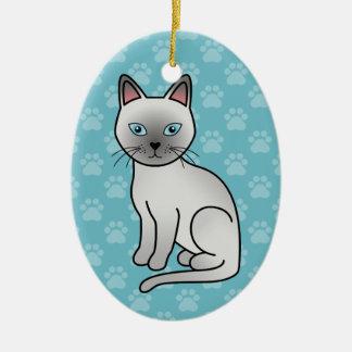 Gato de Tonkinese del platino Adorno Ovalado De Cerámica