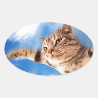 gato de vuelo pegatina ovalada