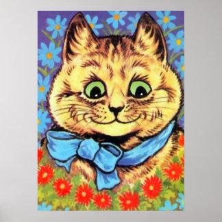 Gato de Wain del vintage con el poster de las flor