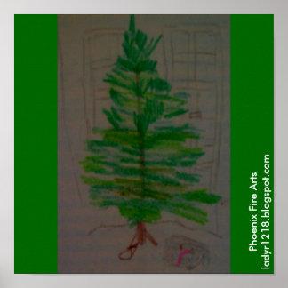 Gato debajo del árbol de navidad póster