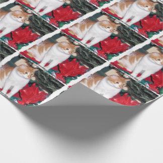 Gato debajo del papel del papel de regalo del