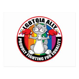 Gato del aliado de LGBTQIA Tarjeta Postal