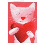 gato del amor - blanco tarjetas