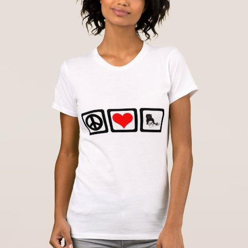 Gato del amor de la paz camiseta