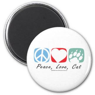 Gato del amor de la paz imán redondo 5 cm