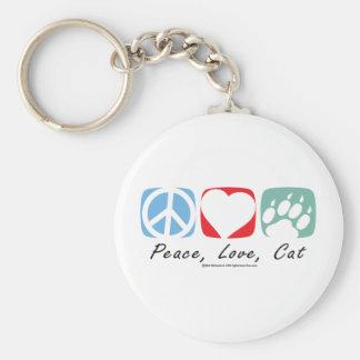 Gato del amor de la paz llavero redondo tipo pin