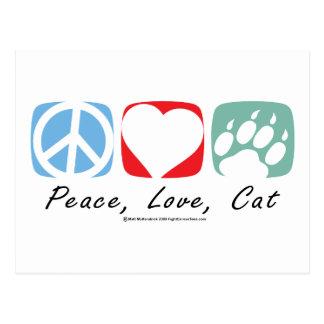 Gato del amor de la paz tarjeta postal