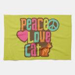 Gato del amor de la paz toalla de mano
