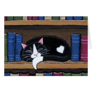 Gato del amor el | del libro que duerme en tarjeta