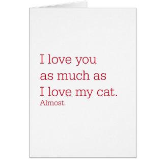 Gato del amor tarjeta de felicitación