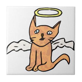 Gato del ángel azulejo cuadrado pequeño