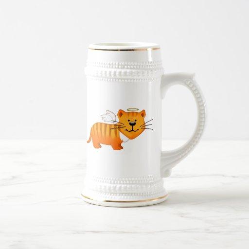 Gato del ángel de guarda taza de café