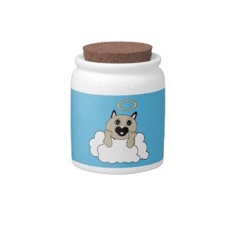 Gato del ángel en el tarro del caramelo de la nube jarras para caramelos