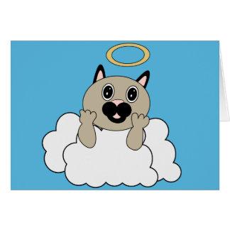 Gato del ángel en la nube tarjeta de felicitación