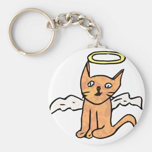 Gato del ángel llaveros personalizados