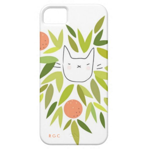 Gato del árbol anaranjado iPhone 5 funda