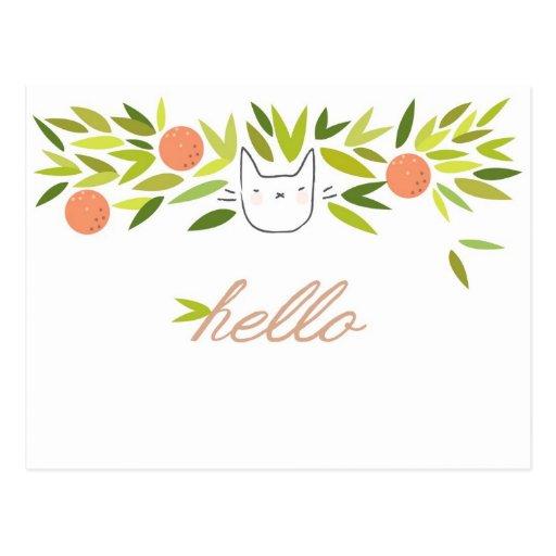 Gato del árbol anaranjado tarjetas postales