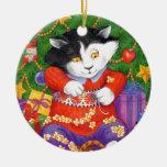 Gato del árbol de navidad adorno de reyes