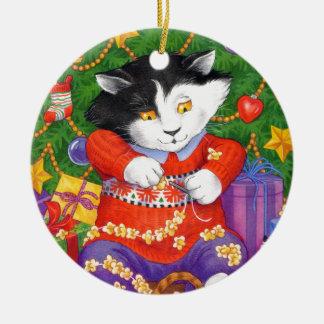 Gato del árbol de navidad adorno redondo de cerámica