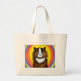 Gato del arco iris bolsa tela grande