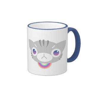 Gato del arco iris (gris) taza a dos colores