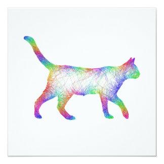 """Gato del arco iris invitación 5.25"""" x 5.25"""""""