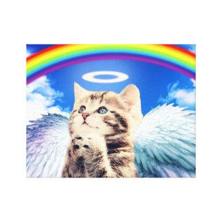 gato del arco iris lienzo envuelto para galerías