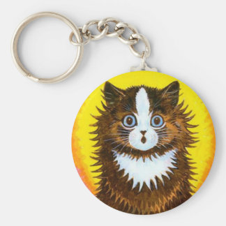 Gato del arco iris llavero redondo tipo pin