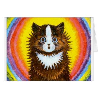Gato del arco iris tarjeta de felicitación