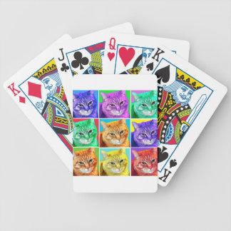 Gato del arte pop barajas de cartas
