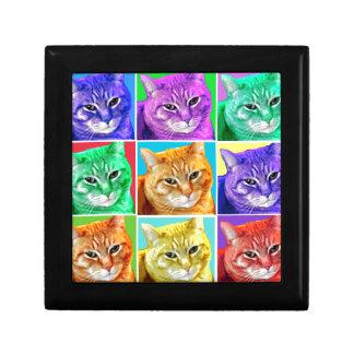 Gato del arte pop joyero cuadrado pequeño