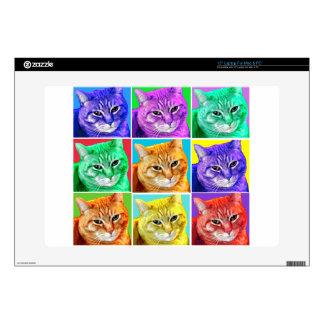Gato del arte pop skins para 38,1cm portátil