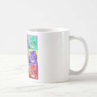 Gato del arte pop taza básica blanca