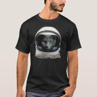 Gato del astronauta del casco de espacio playera