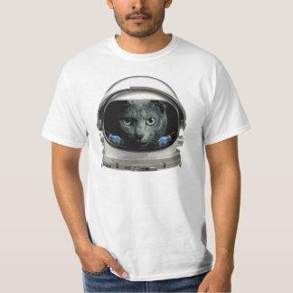 Gato del astronauta del casco de espacio playeras
